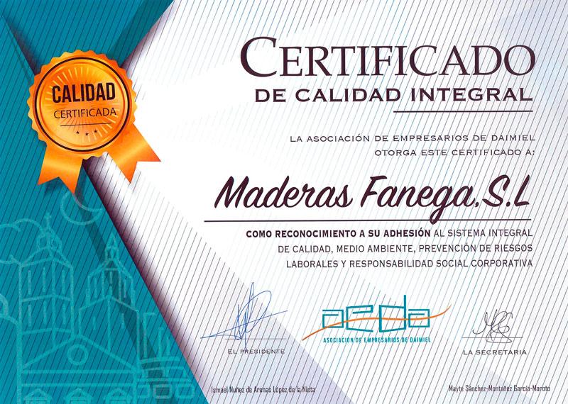 Certificado de Calidad Integral