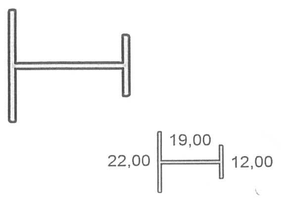 Perfil H para tablero de 19 mm.