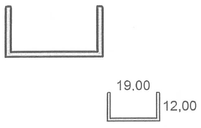 Perfil U para tablero de 19 mm.